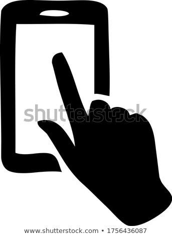 érintés · mobiltelefon · kép · üzletember · kettő · kéz - stock fotó © pongam