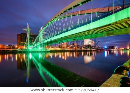 пешеходный мост ночь автомобилей здании строительство свет Сток-фото © kawing921