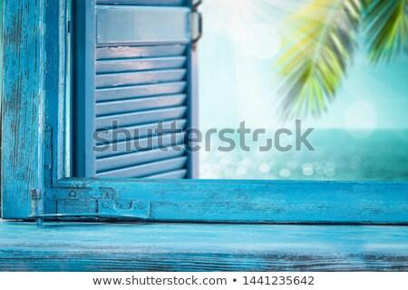 Mavi ahşap pencere kapalı eski beyaz Stok fotoğraf © samsem