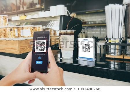 Qr code reklamy pomarańczowy przycisk telefonu Zdjęcia stock © tashatuvango