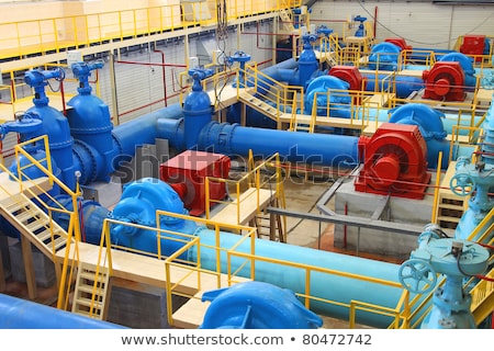 Water pumping station, industrial interior and pipes Stock photo © rufous