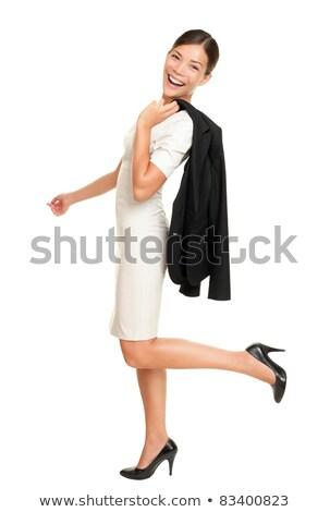 Asya · genç · kadın · geri · yalıtılmış · beyaz · kadın - stok fotoğraf © stockyimages