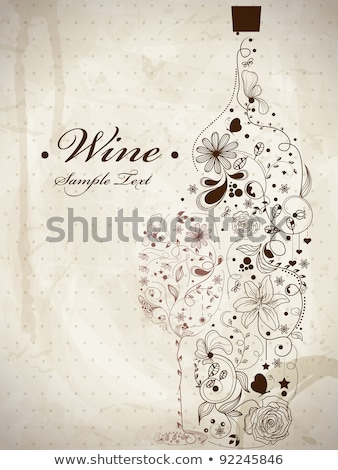 Stok fotoğraf: Vintage Card With A Bottle Of Wine And A Glass Eps10