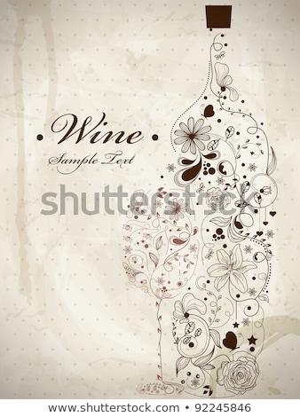 Stok fotoğraf: Bağbozumu · kart · şişe · şarap · kadehi · eps10 · bilgisayar