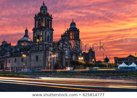 Mexikóváros katedrális kilátás tető késő délután Stock fotó © jkraft5