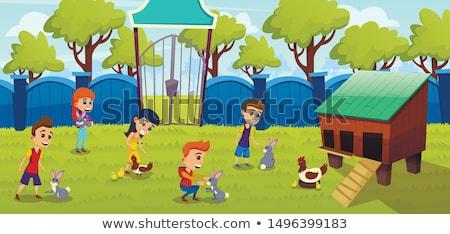 Gospodarstwa chłopca bramy krów pola górę Zdjęcia stock © sdenness