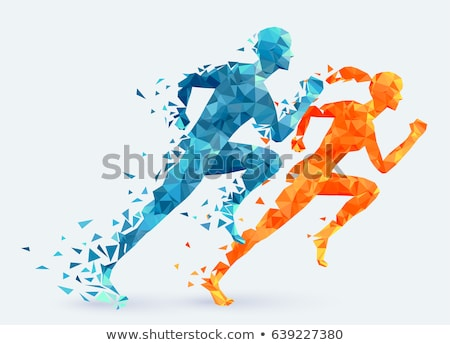The running men and women. Vector illustration Stock photo © leonido