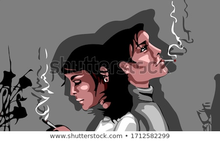 fashion couple back to back and man smoking Stock photo © feedough