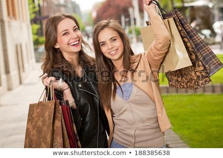 szczęśliwy · uśmiechnięty · brunetka · kobiet · jesienią · kobieta - zdjęcia stock © lithian