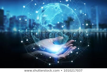 Meisje wereld hand geïsoleerd witte Stockfoto © sdenness