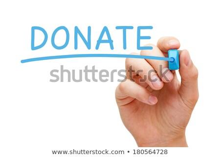Faire un don bleu marqueur main écrit transparent Photo stock © ivelin