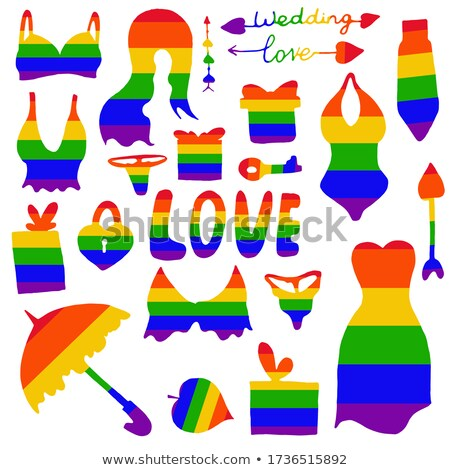 gay and lesbian couples rainbow vector buttons set stock photo © redkoala