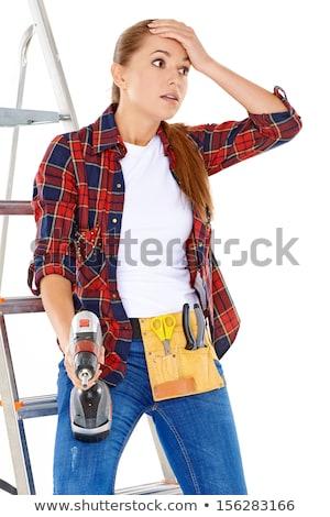 kadın · ev · duvar · çalışmak · Metal - stok fotoğraf © dash