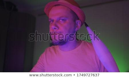 Stijlvol man hoed nacht stad gezicht Stockfoto © Nejron