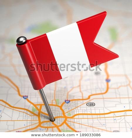 Peru küçük bayrak harita seçici odak reklam Stok fotoğraf © tashatuvango