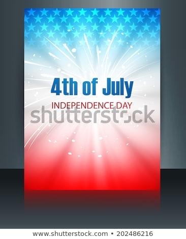 beautiful american flag template 4th of july celebration brochur stock photo © bharat