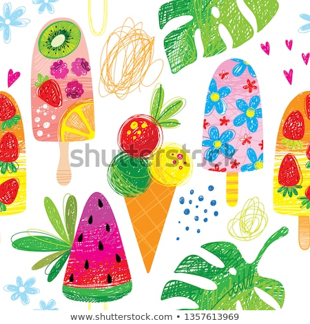 Stock photo: Seamless pattern of color hand drawn watermelons