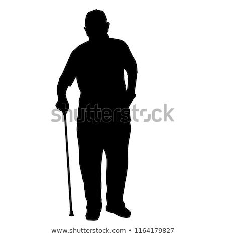 Vieillard silhouettes homme âgées personne marche Photo stock © Slobelix