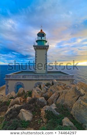 Deniz feneri manzara Yunanistan su deniz güvenlik Stok fotoğraf © igabriela