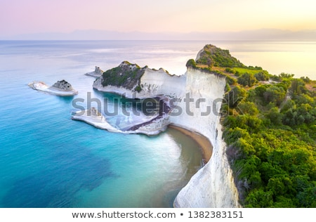 Tenger szirt kilátás Görögország égbolt absztrakt Stock fotó © slunicko