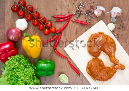 Marine tavuk bacaklar baharatlar sebze Stok fotoğraf © OleksandrO