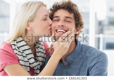 Foto stock: Casal · beijando · sensual · morena · bonito