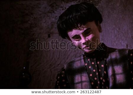 Közelkép férfi próbababa lila fény sötét haj Stock fotó © stryjek