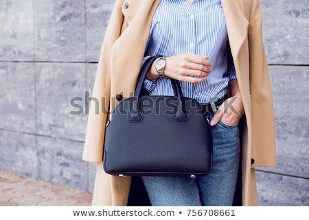 женщину мешки блондинка улыбающаяся женщина Рождества Hat Сток-фото © Flareimage
