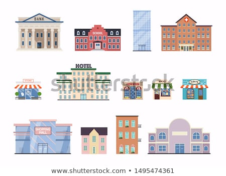 cityscape with cafe building flat illustration stock photo © wad