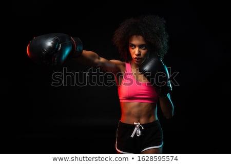 Mujer hermosa boxeo negro rojo guantes belleza Foto stock © master1305