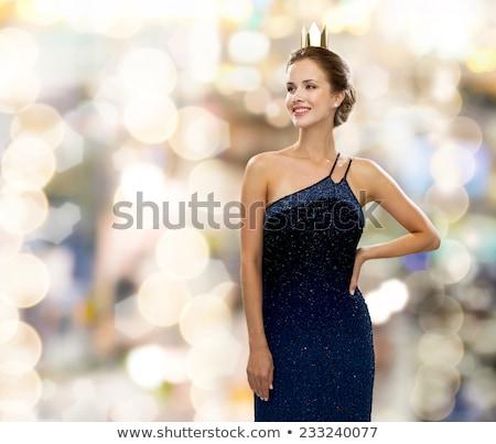 Stok fotoğraf: Güzel · genç · kadın · moda · altın · elbise · tatil