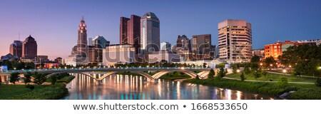 市 オハイオ州 水彩画 芸術 印刷 スカイライン ストックフォト © chris2766