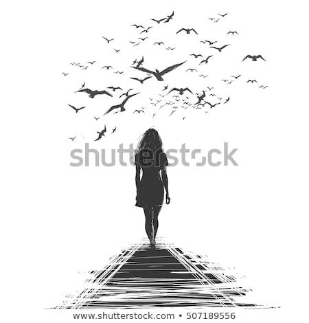 Nő sétál messze köd tenger part Stock fotó © rafalstachura