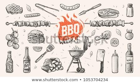 grelhado · bife · churrasco · festa · ilustração · grande - foto stock © netkov1