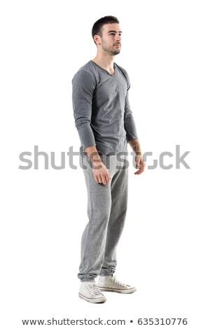 Fitnessz férfi áll tornaterem másfelé néz portré Stock fotó © deandrobot