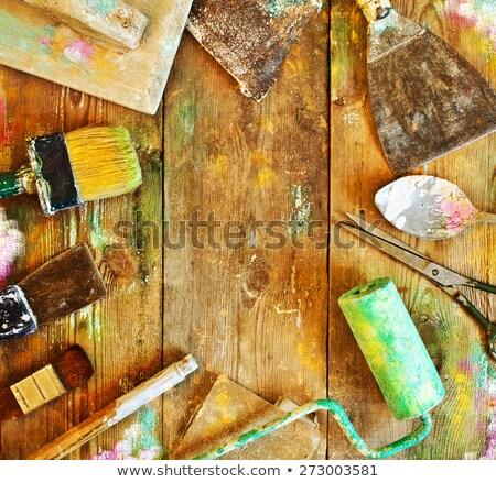 usado · pintar · velho · isolado · branco · edifício - foto stock © stevanovicigor