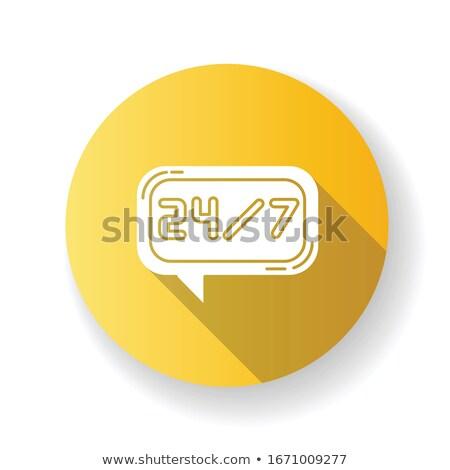 24 Hours Helpline Yellow Vector Icon Design Stock photo © rizwanali3d