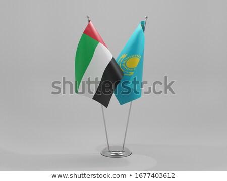 Egyesült Arab Emírségek Kazahsztán zászlók puzzle izolált fehér Stock fotó © Istanbul2009