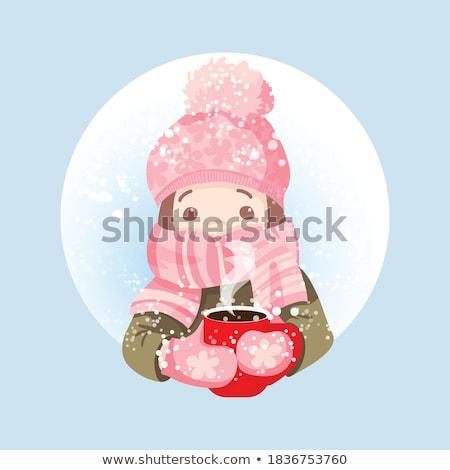 ストックフォト: 少女 · 帽子 · スカーフ · 美人 · 見える · のような