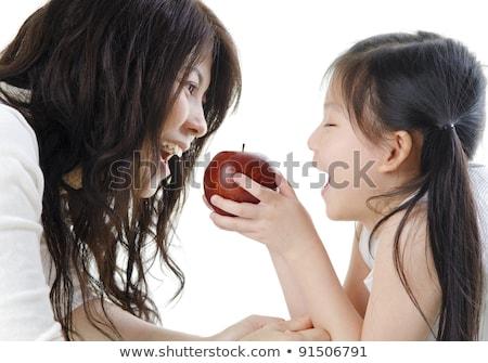 Dziecko Z Jabłkiem I Rodzicami Na Białym Tle 2 Zdjęcia stock © szefei