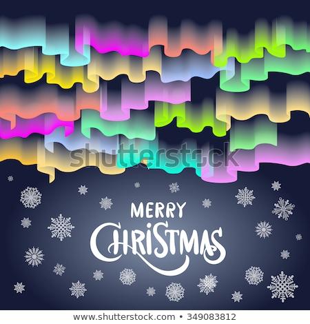 Stok fotoğraf: Neşeli · Noel · form · kuzey · ışıklar · gökyüzü