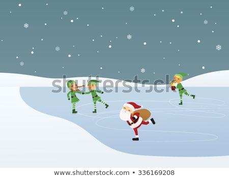 karácsony · manó · korcsolyázás · 3d · render · sportok · korcsolya - stock fotó © AlienCat