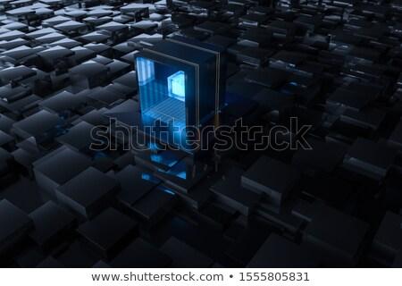 integration in blue glass cubes Stock photo © marinini