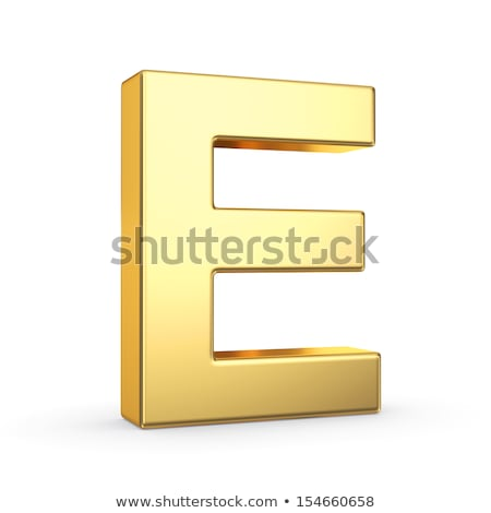 The letter E as a polished golden object with clipping path Stock photo © creisinger