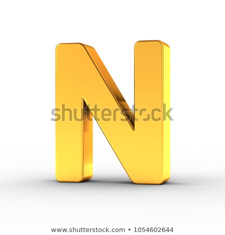 The letter N as a polished golden object with clipping path Stock photo © creisinger