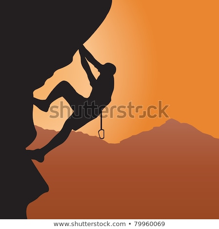 rock climber silhouetted stock photo © gregepperson
