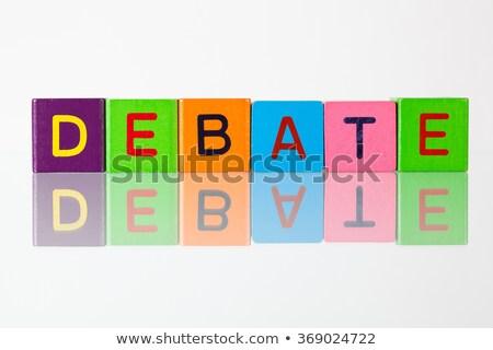 Debata napis bloków podpisania Język Zdjęcia stock © CaptureLight