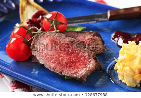 Marhahús rántotta szilva mártás szeletek étel Stock fotó © Digifoodstock