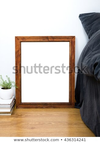 Empty blank vintage wooden frame on a floor, home bedroom interi Stock photo © manera