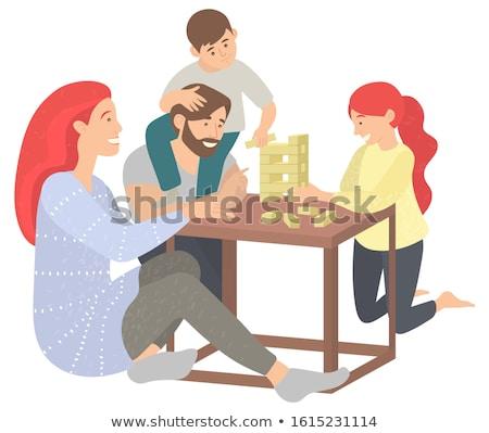 Zeit gewinnen Holztisch Wort Kind Hintergrund Stock foto © fuzzbones0